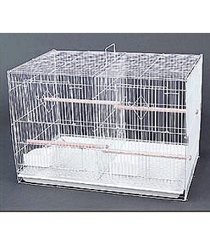 White flight cage with 1/2: bar spacing and removable divider